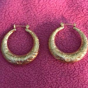 Gold Pierced Hoop Earrings